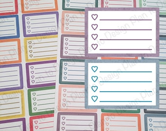 Heart Checklist Planner Stickers or Footer (28) Variety made for Erin Condren Vertical Recollections Happy Planner Kate Spade 2017-2018
