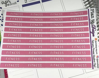 Fitness Header Stickers (40) made for 2017-18 Erin Condren Life Planner and Happy Planner