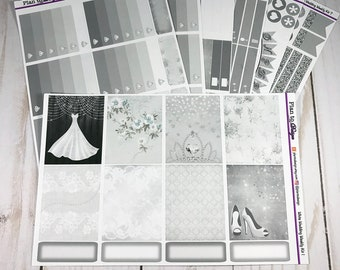 SILVER WHITE WEDDING Deluxe Weekly Kit - 7 Pages - Neutral - made for Erin Condren Vertical Life Planner, Recollections, Happy Planner