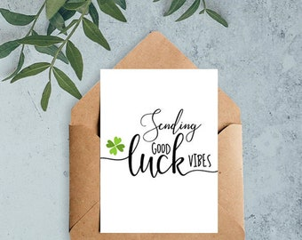 """Patricks day card, Good luck card, 5x7"""",good luck printable, good luck vibes, Instant download"""