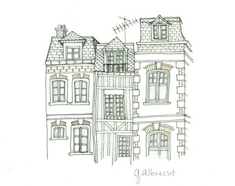 Trouville Street View | Illustration | 8X8 art print
