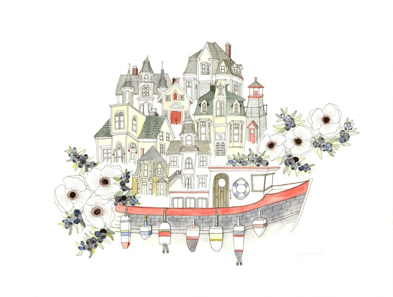Nautical illustrated postcard and gift set