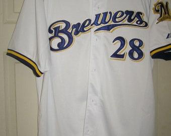 a00e7a4e Prince Fielder #28 Brewers Majestic MLB Baseball Jersey Size 52