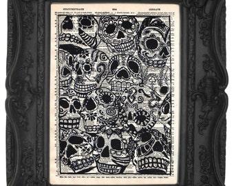 Calaveras Arte   Skull print   Skull decor   Skull Home Decor   Dictionary print Book Art   Antique Art   Day Of The Dead