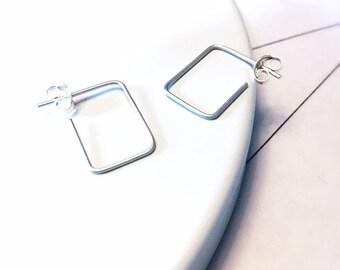 2a6f33e10 Silver Geometric Hoops, Minimalist Earrings, Small Silver Hoops, Hammered Silver  Hoops, Silver Earrings, Modern Silver Hoops,
