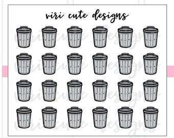 Kawaii Trash Can Planner Stickers | 025 | trash day, clean, trash can, trash bin, kawaii, hand drawn, planner stickers, Viri Cute Designs