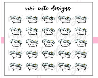 Kawaii Bubble Bath Planner Stickers | 024 | bath time, bubble bath, relax, me time, planner, stickers, kawaii, hand drawn, Viri Cute Designs