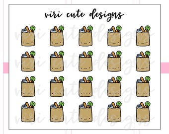 Kawaii Grocery Bag Planner Stickers | 007