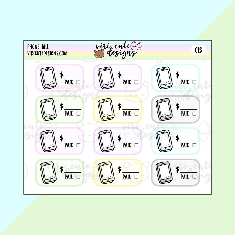 Kawaii Phone Bill Planner Stickers  013   phone bill bill image 0