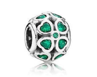 606221d72 AUTHENTIC PANDORA Lucky Green Clover Charm, Sterling Silver,791496CZN, Pandora Gift Box