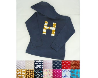 6a9a92daf Initial Letter Navy Blue Hoodie Hooded Lightweight Jumper.Boys/Girls, Baby, Toddler, Kids.Pick Fabric From Over 20 Designs.Emma's Bambino.