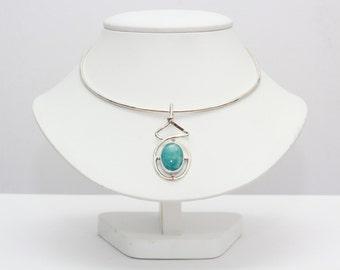 super blue larimar pendant oval cabochon silver jewelry