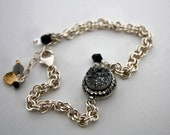 Metallic Silver Pave Wrap Druzy Single Strand Bracelet Silver Plate Double Link Chain Multiple Gold Filled, Sterling Silver Bead Charms