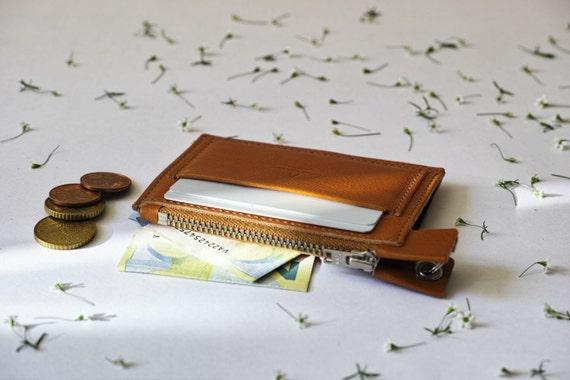 Tirette de porte-monnaie, porte-carte, brun, cousu main, en cuir italien, cuir végétal, lin au Chinois Fil Français