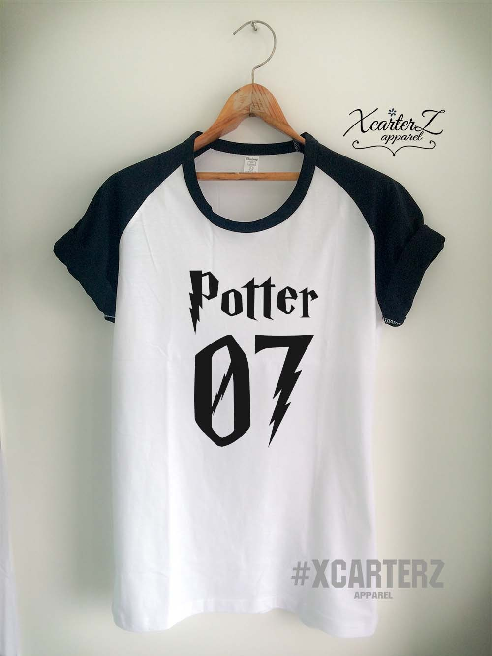 Potter Shirt Potter07 Merch Potter T Shirt Print on Front or Back side for  Women Girls Men Tumblr Baseball Top Tee Jersey White/Grey