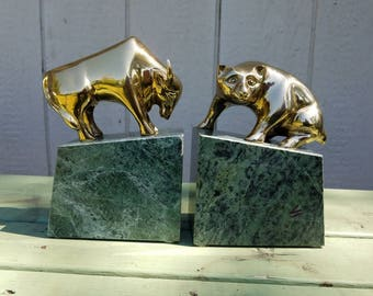 Superieur Bull And Bear Marble And Brass Bookends