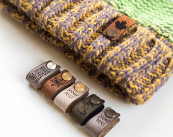 Custom Small Labels With Rivet, Knitting Beanie Tags, Personalized Leather Tags, Crochet tags, Leather Label for Knitted items, Handmade tag