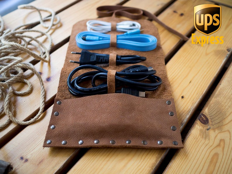 77dbe0313c59 Personalized Handmade Leather Cord Wrap with Pocket Leather   Etsy