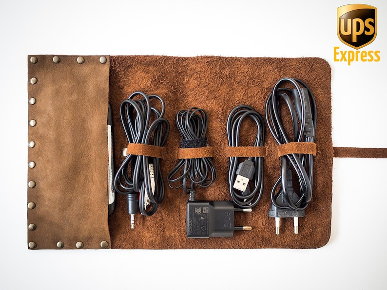 Personalized Handmade Leather Cord Wrap with Pocket Leather image 0