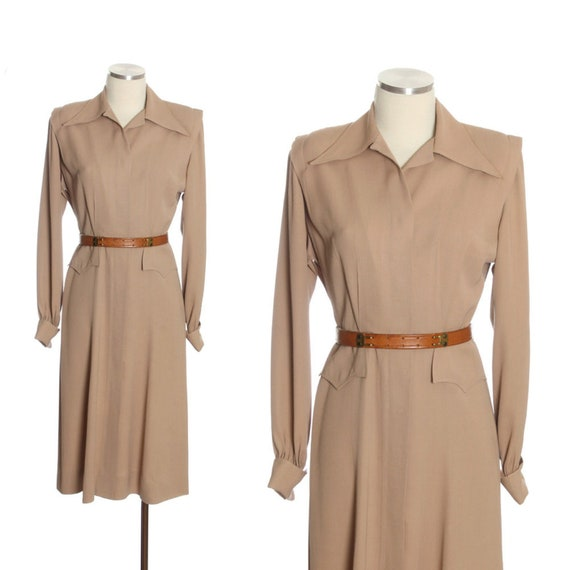 1940s Light Mocha Gabardine Shirtwaist Dress