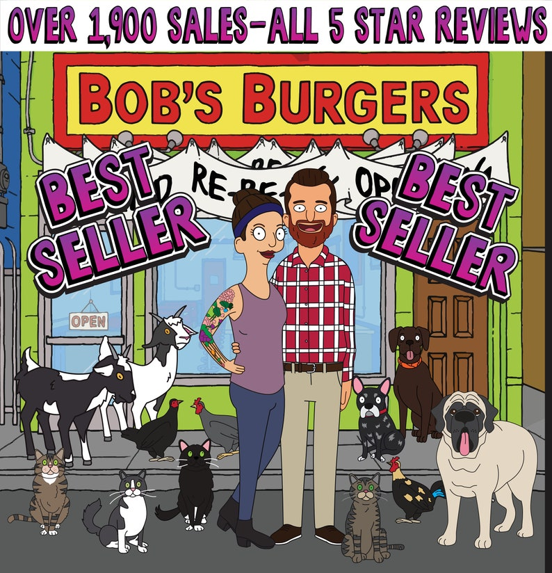 Bobs Burgers Portrait made from your photos. Gift idea for image 0