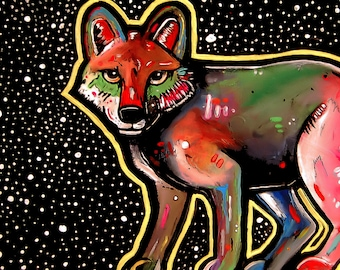 Sly Like a Fox (Original Painting) from Missoula, Montana. Artwork and decor for animal lovers. Fox in snow. Wildlife, outdoors,  winter