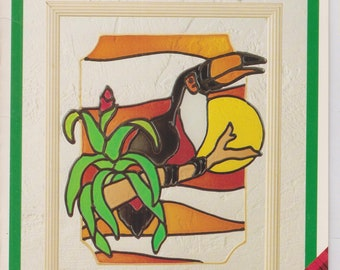 """Gallery Glass Glass Painting Pattern 15205 11"""" x 14"""" Toucan   (Staple Bound: Crafts, Glass Art)"""