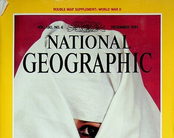 National Geographic  and map  December 1991 Ibn Battuta, Pearl Harbor, Rain Forest, Pearls, Pittsburgh (Magazine Nature, Geography) 1991