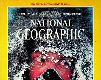 National Geographic September 1986 North to the Pole, Sense of Smell, Last Jews of Poland, Meteorites (Magazine: Nature, Geography)