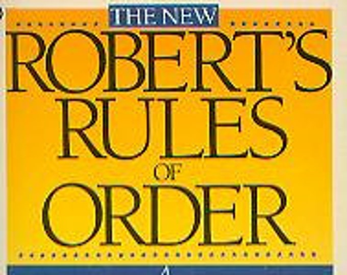 The New Robert's Rules of Order by Mary A De Vries (Paperback: Educational, Reference) 1990