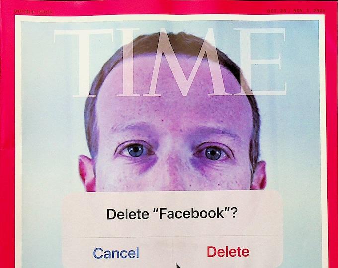 Time October 25 - November 1, 2021 Delete Facebook? Mark Zuckerberg  (Magazine: Current Events, News)