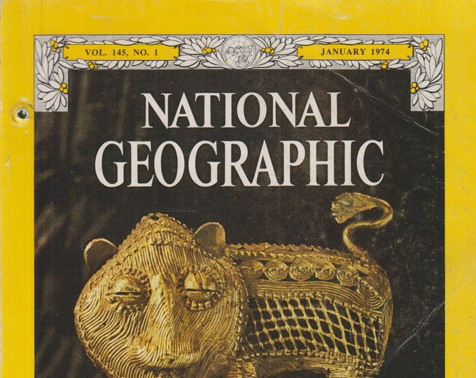 National Geographic January 1974 Gold, New Jersey, Hmong, Newfoundland, Heron, Comet  (Magazine, Nature, Geography)