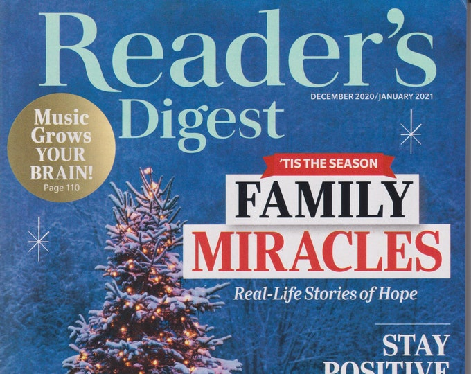 Reader's Digest December 2020 January 2021  Family Miracles - Real Life Stories of Hope  (Magazine: General Interest)