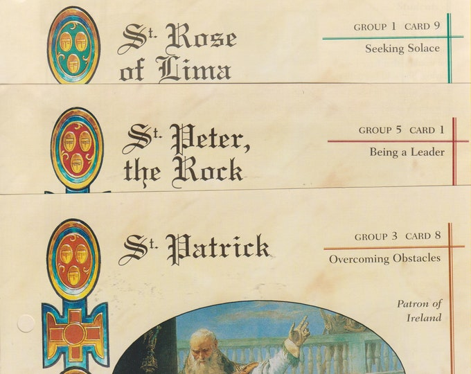 Set of 12 Saint Cards (St. Patrick, St. Peter,  St. Rose and more (Religious, Saints) 2001