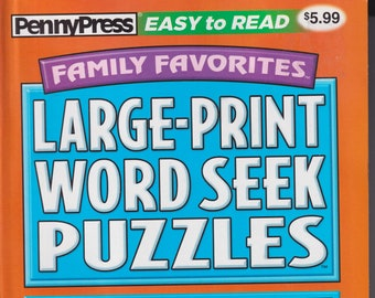 PennyPress Family Favorites Large Print Word Seek Puzzles (Paperback: Pencil Puzzles)