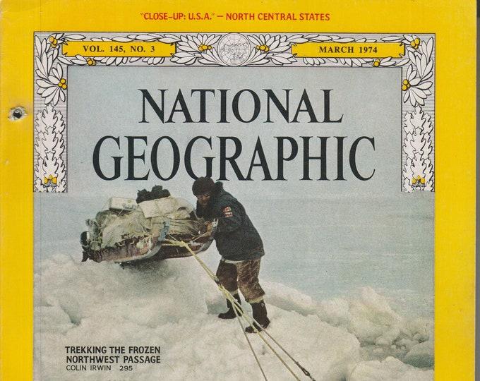 National Geographic March 1974 Trekking the Frozen Northwest Passage; Japan, Nebraska, Bavaria, Cooper's Hawk  (Magazine, Nature, Geography)