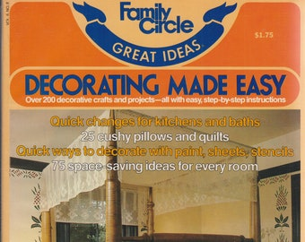 Family Circle Great Ideas Decorating Made Easy  (Softcover: Home Decor, Home Decor Crafts and Projects)  1980