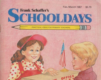 Schooldays February March 1987 Animals and Where They Live, Beauty, The Post Office, Africa, America  (Magazine:  Educational, Teaching)