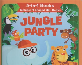 Jungle Party 5-in-1 Books includes 4 Shaped Mini Books   (Board book, Children's, Picture) 2017