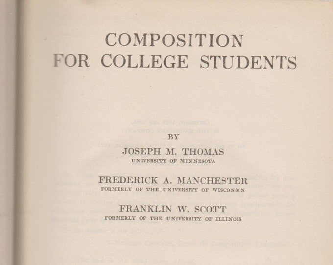 Composition For College Students (Hardcover: Educational) 1927