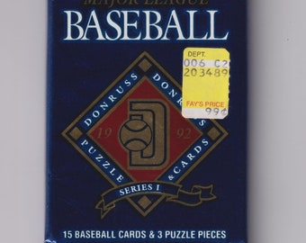 1992 Donruss Major League Baseball Cards Series 1 - Unopened Pack - 15 Baseball Cards & 3 Puzzle Pieces (Vintage  Baseball Trading Cards)