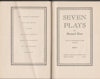 Seven Plays by Bernard Shaw  (Hardcover: Theatre, Plays)  1951 Edition