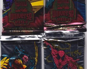 Marvel Universe Cards 1994 Set of 4 Unopened Packs (36 Cards) (Vintage Trading Cards)