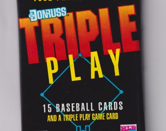 1992 Donruss Triple Play Premier Edition Unopened Pack - 15 Baseball Cards and a Triple Play Game Card (Vintage  Baseball Trading Cards)