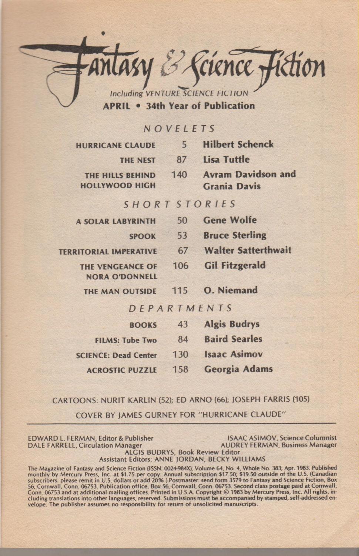 Fantasy & Science Fiction Magazine April 1983 Hurricane