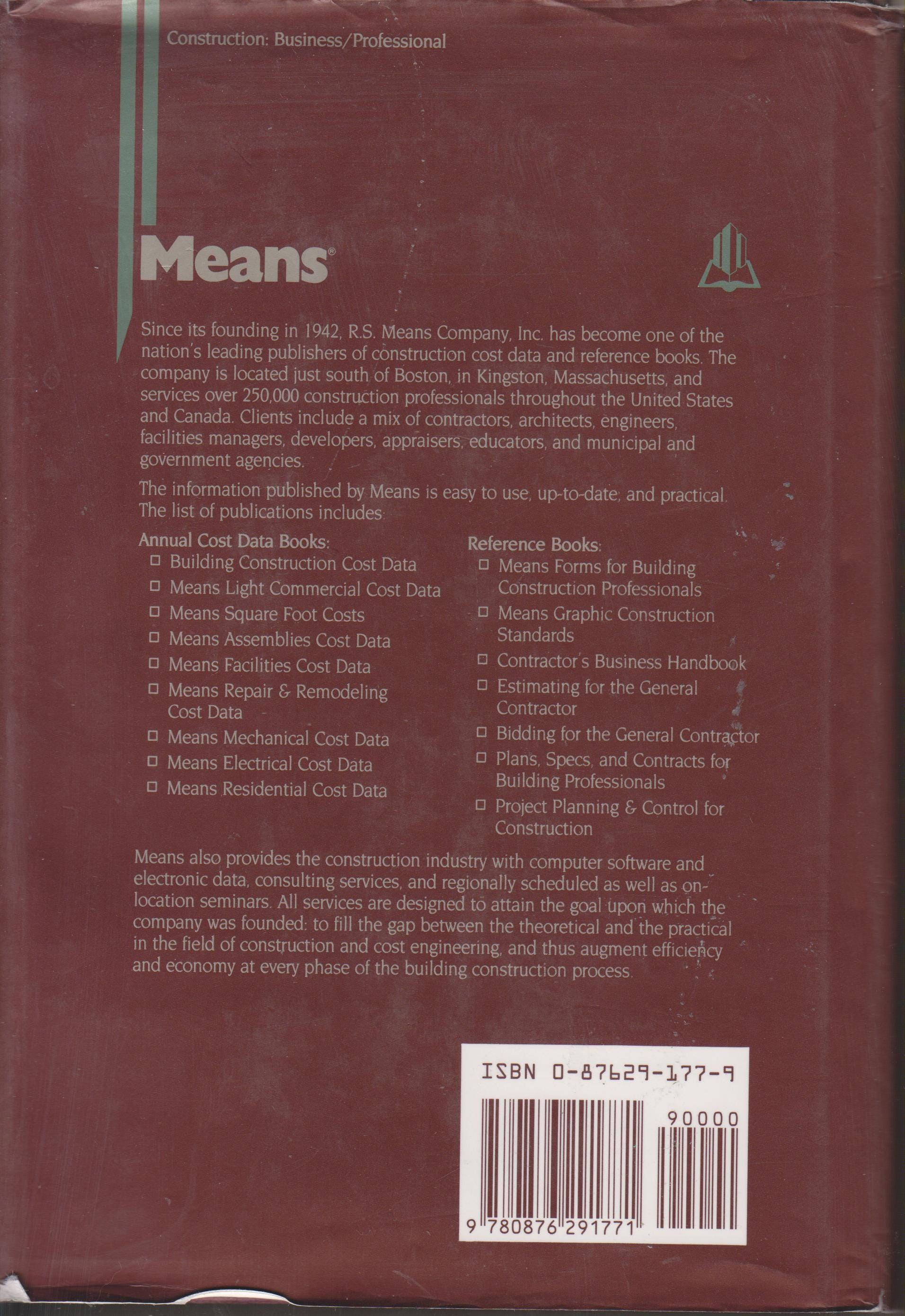 Means Estimating Handbook (hardcover, Construction:Business