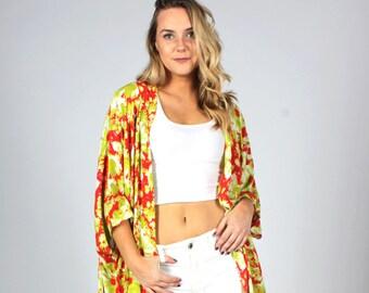 c5a285b92df8 Kimono, Boho Kimono, Floral Kimono, Swimsuit Coverup, Kimono Coverup,  Hippie, Oversized Coverup, Red Green White Kimono, Colorful Kimono