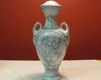 """Hand Crafted Large 20"""" Tall Vase/Urn Beautiful Design Flowers on one side and Asian Design on other side"""