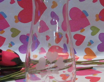 """Vintage Heart Etched Bud Vase 7"""" tall and 2 1/2"""" diameter"""