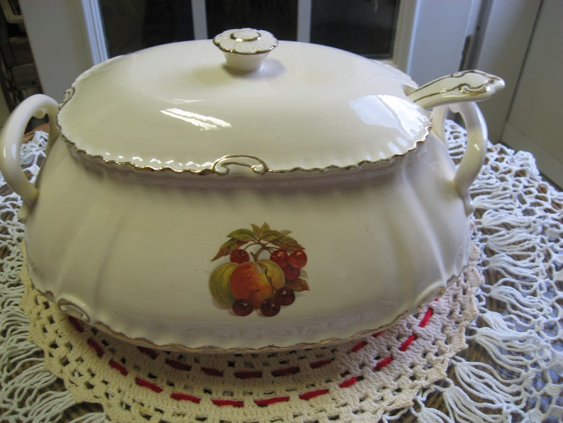 Vintage Soup Tureen with Ladle Ceramic and Fruit on front FREE SHIPPING!